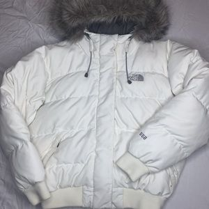 North Face  550 goose-down coat w/fur lined hood